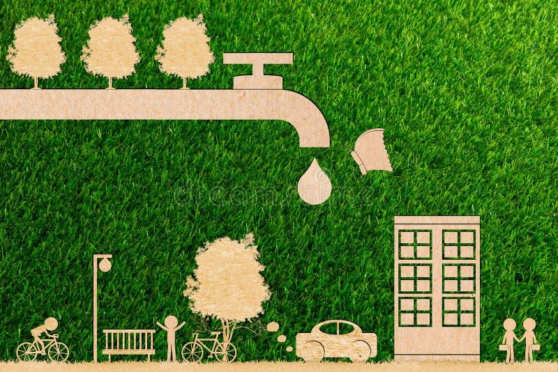 Economias da água da floresta do conceito da ecologia e torneira da gota da árvore e da borboleta viva ilustração do vetor