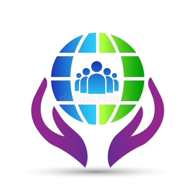 Economias do conceito do ícone do logotipo do globo e dos povos das mãos e terra e povos do cuidado no fundo branco ilustração stock