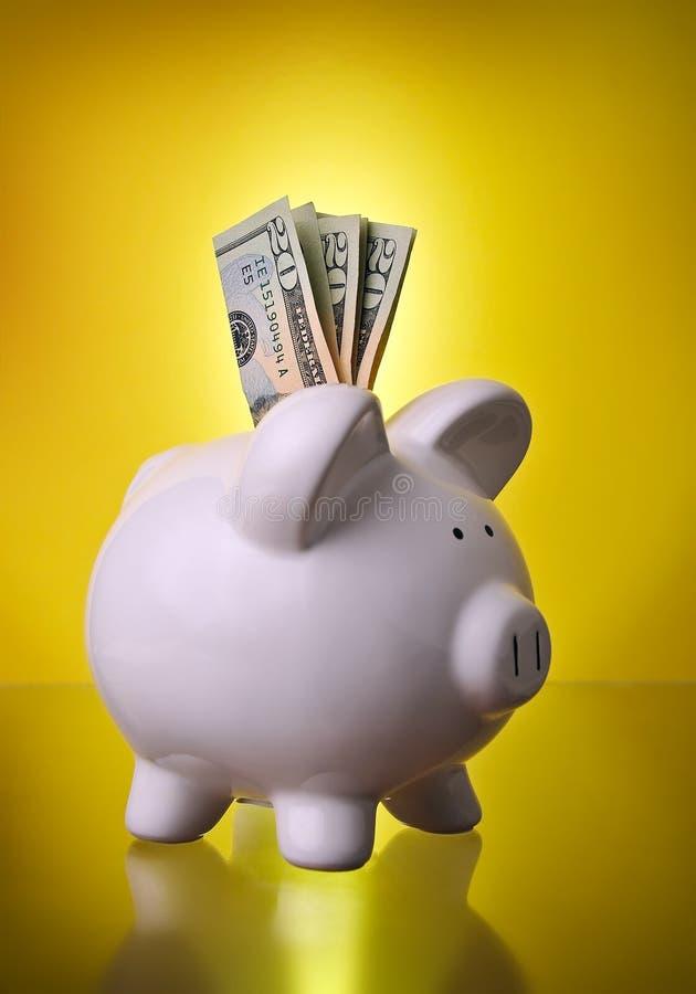 Economias do investimento financeiro de banco Piggy com dinheiro imagem de stock royalty free