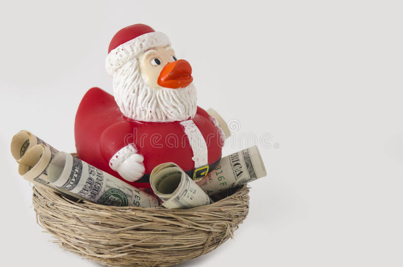 Economias do pato de Santa para o Natal foto de stock