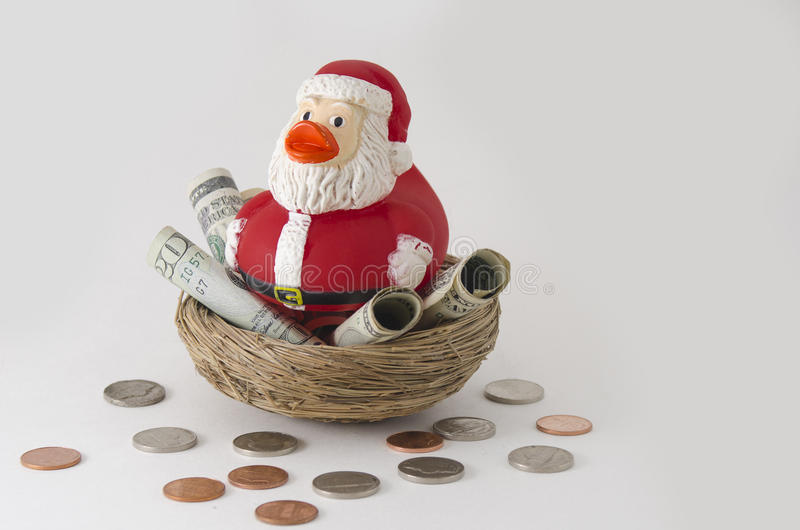Economias do pato de Santa para o Natal imagens de stock royalty free