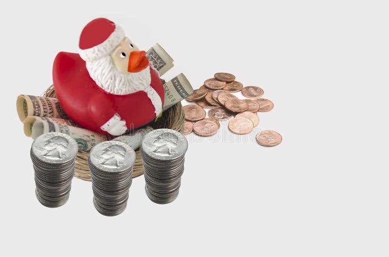 Economias do pato de Santa para o Natal fotos de stock