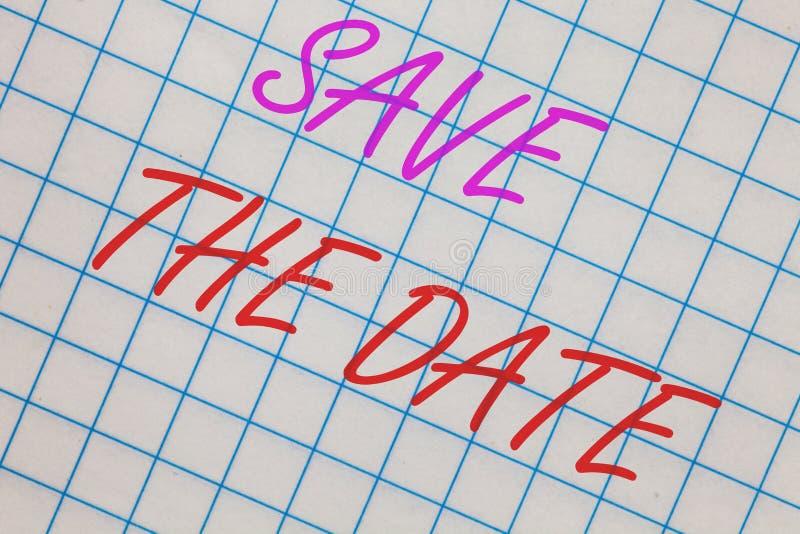 Economias do texto da escrita da palavra a data O conceito do negócio para eventos Systematized programou a página esquadrada cad ilustração royalty free