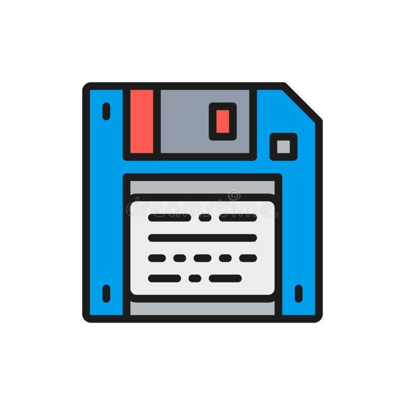 Economias do vetor, disquete, linha de cor lisa ícone do disco flexível ilustração stock
