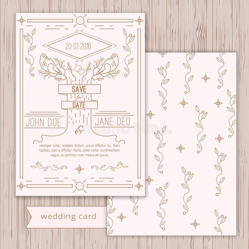 Economias do vetor o molde do cartão de data - casamento ilustração do vetor