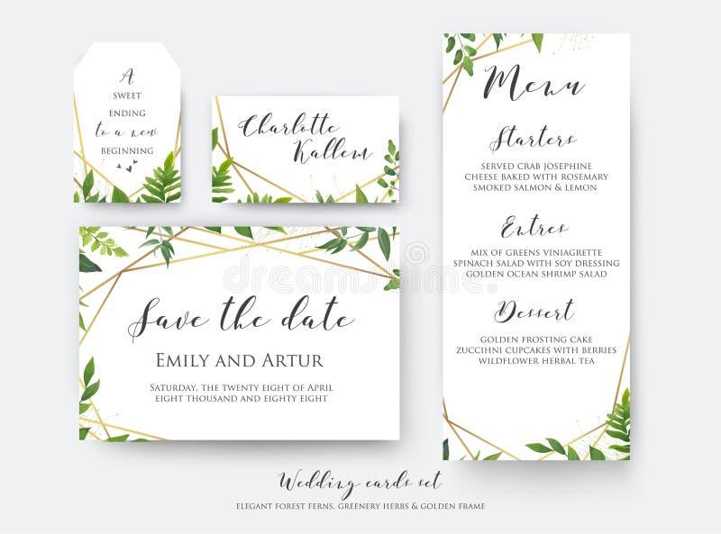 Economias florais do casamento a data, o menu, o cartão do lugar & o molde da etiqueta ilustração stock