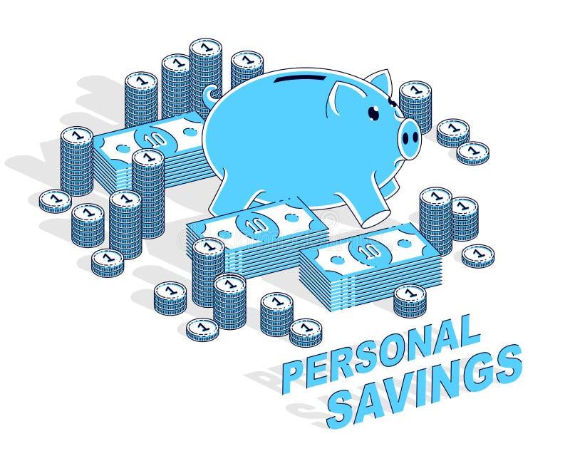 Economias pessoais conceito, mealheiro com pilhas do dólar e centavo ilustração stock