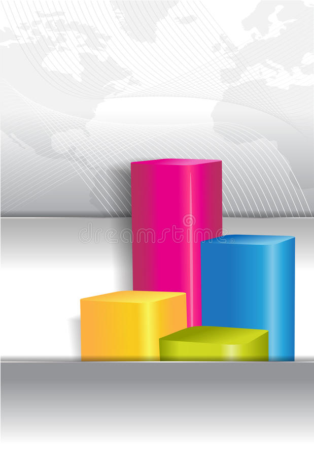 Economic background for brochure cover with graph. Economic abstract background for brochure cover with color graph stock illustration