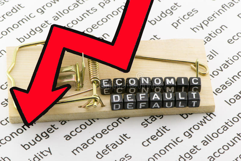 The economic concept of a default trap. On a white background stock photos