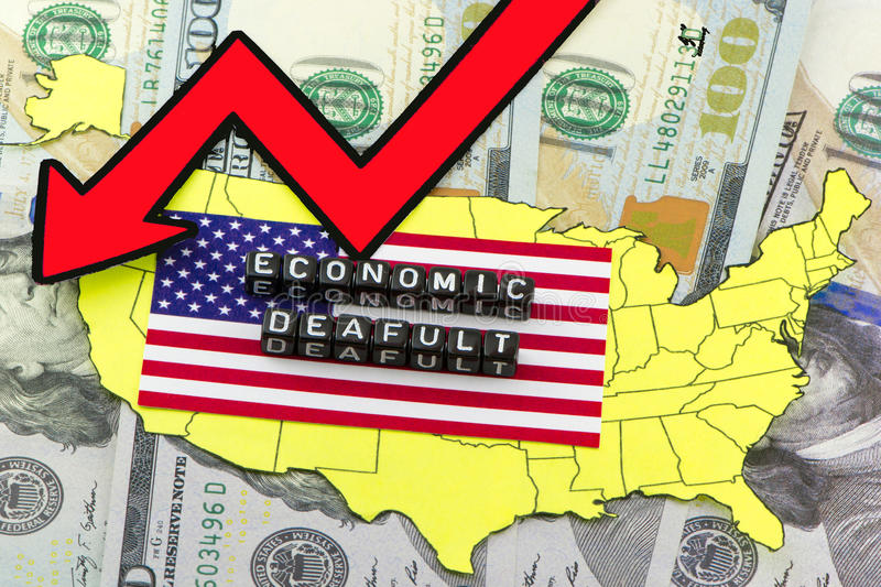 The economic concept of default. In the US stock image