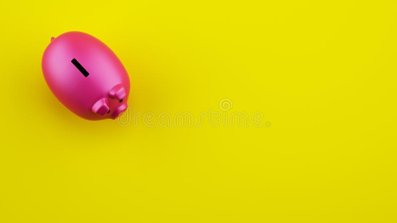 Pink piggy bank on yellow background. 3D Rendering royalty free stock images