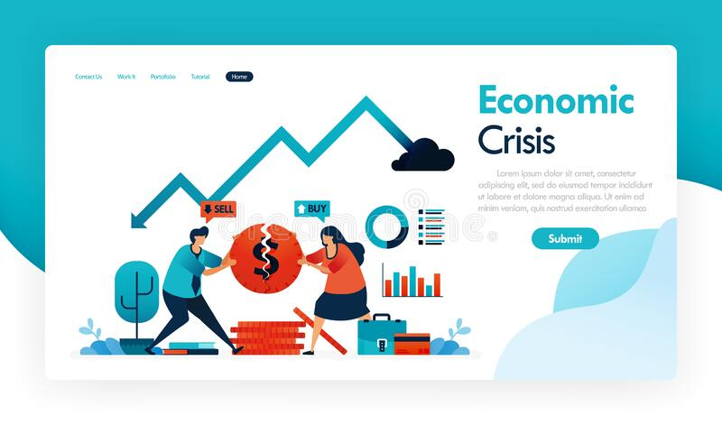 Economic crisis with falling GDP and rising inflation, financial strategy and banking in recession, broken coins, finance analysis. Graph, statistics chart stock illustration