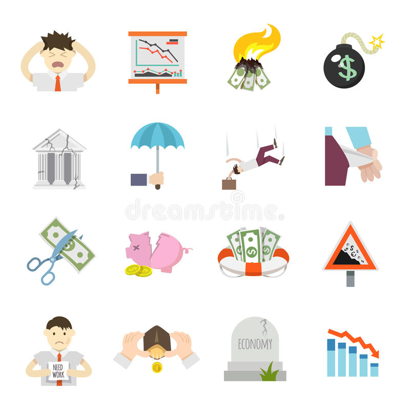 Economic Crisis Flat Icons stock illustration