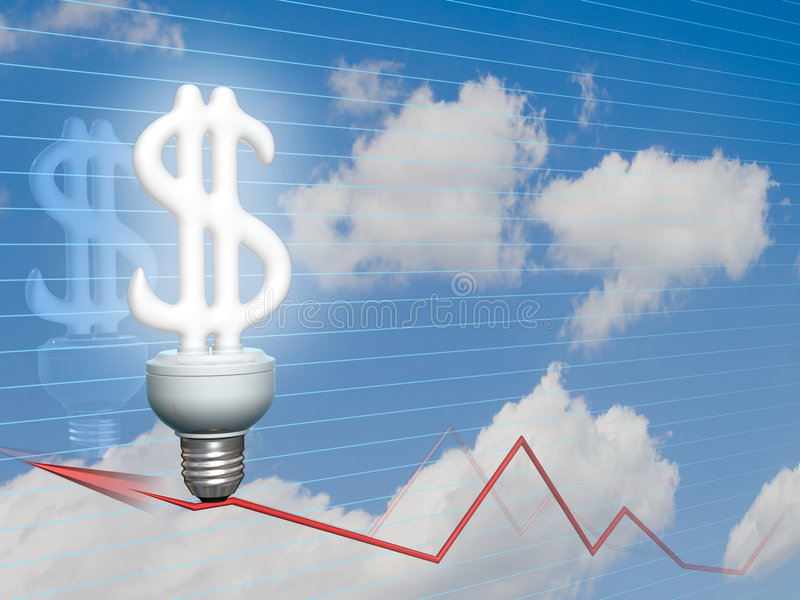 Economic Dollar bulb. Dollar symbol of idea, money, economy, power and business