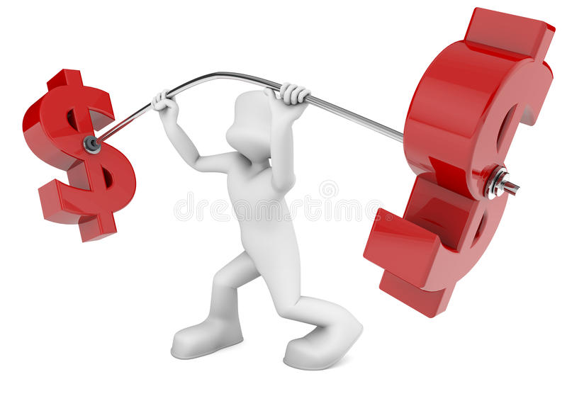 Economic effort. 3d character shaped lifting weights dollar. metaphor of economic effort stock illustration