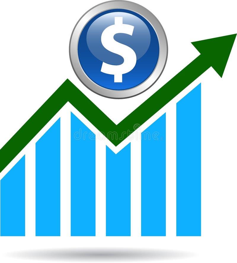 Economic graph arrow. Dollar - vector illustration on isolated white background vector illustration