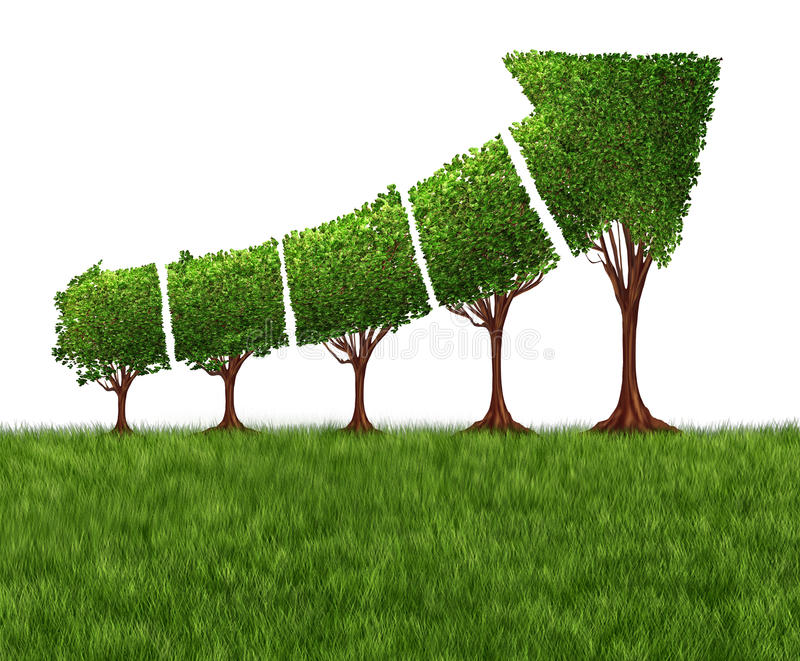 Economic Graph Chart. And eco or ecological development concept as a group of trees coming together in the shape of an arrow pointing upwards as a success vector illustration