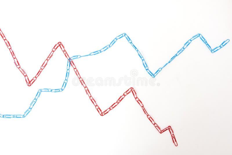 Economic graph diagram made paper clips stock photos