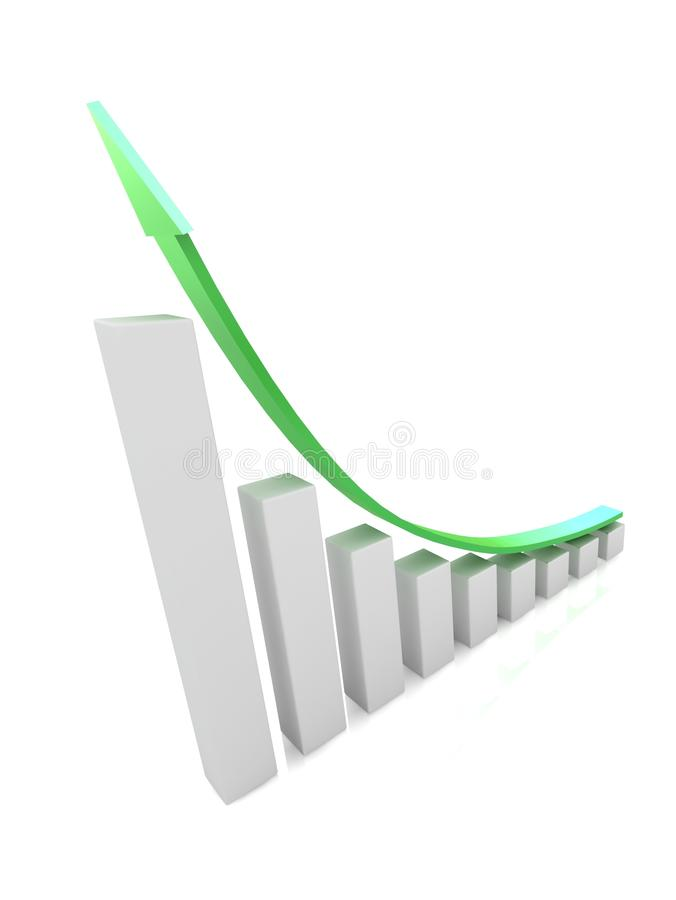 Download Economic Growth Charts And The Green Arrow Stock Photography - Image: 25378282