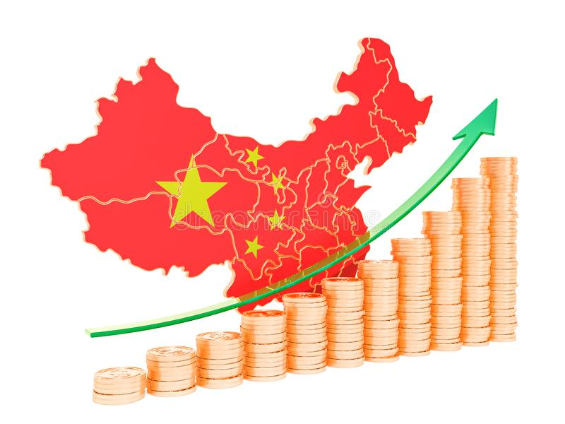 Economic growth in China concept, 3D rendering royalty free illustration