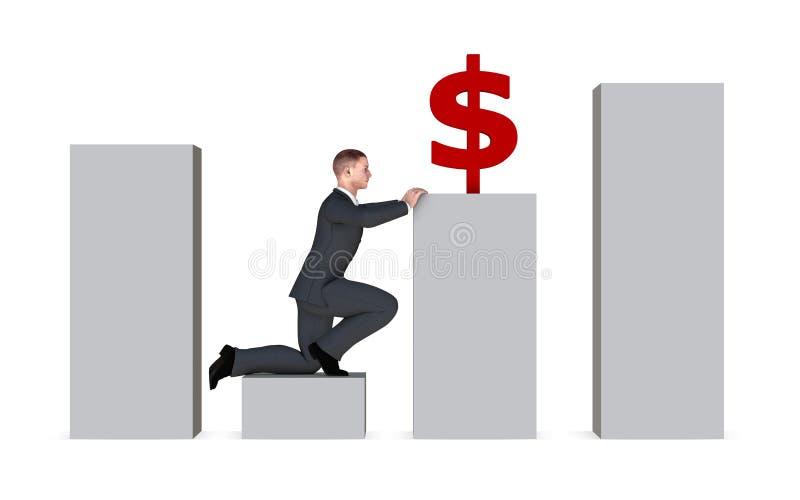 Economic growth concept. Businessman rise from economic trough (concept stock illustration