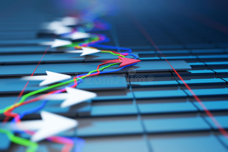 Economic indicators and move forward with the arrow stock illustration
