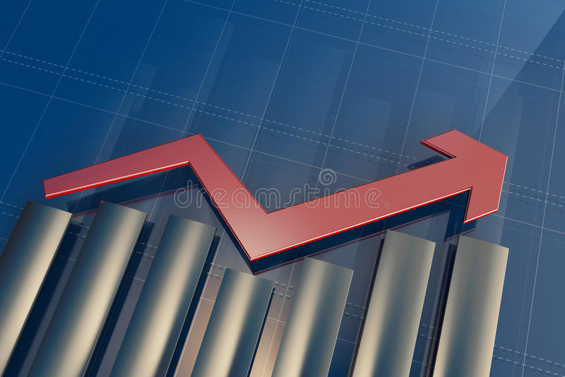 Economic indicators and move forward with the arrow royalty free illustration