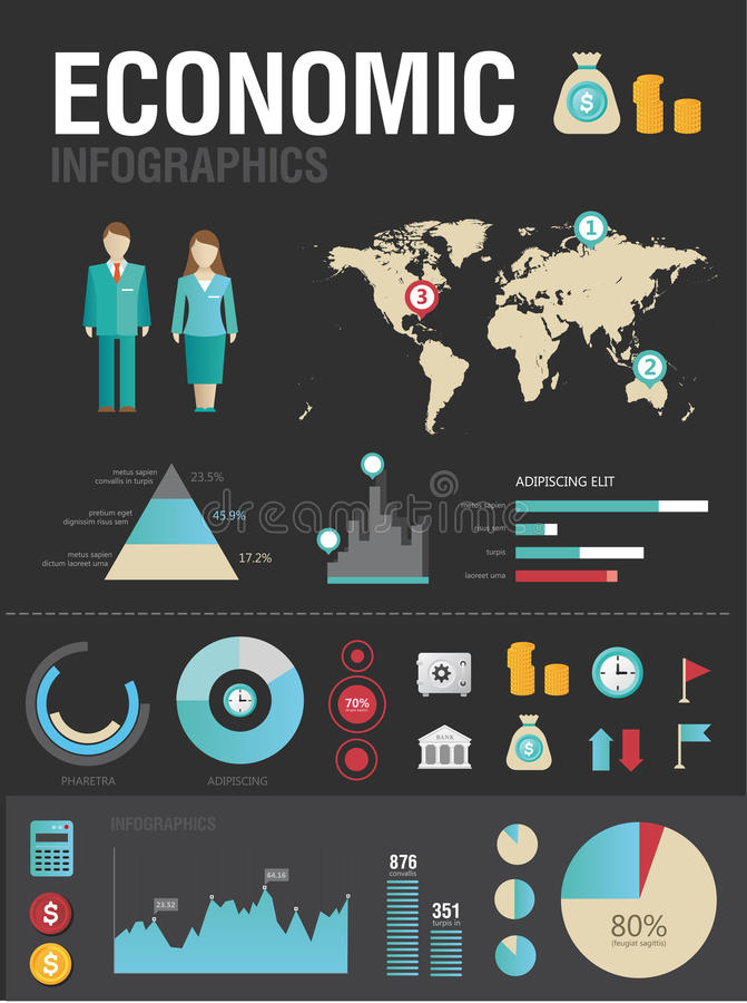 Economic infographic. Set of various icons and charts for business reports
