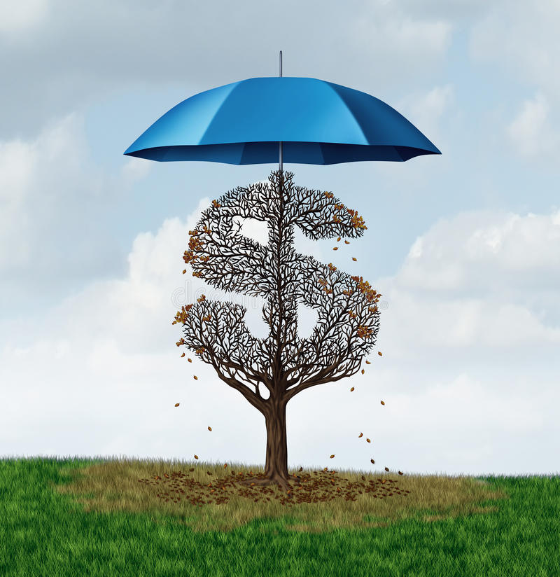 Economic Protectionism Policy. And financial closed trade restrictions as a tree shaped as a money dollar sign losing leaves due to a security umbrella blocking stock illustration