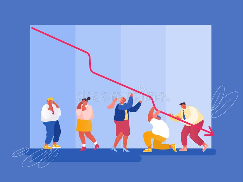 Economic Recession, Sale Drop and Crisis Concept. Sad Business People around Decline Red Arrow Chart stock illustration
