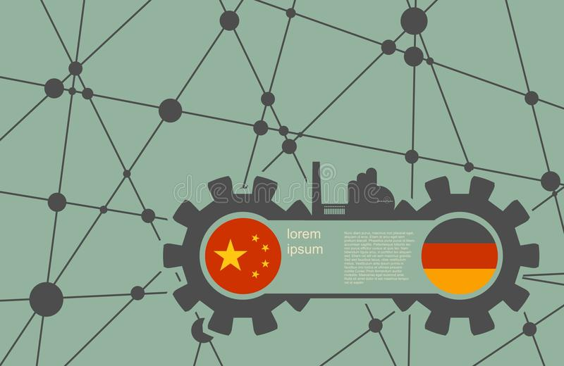 Economic relations between China and Germany. Heavy industry relative image. Molecule And Communication Background. Vector brochure or report design template royalty free illustration