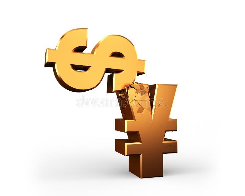 Economic war, USD vs. RMB, currency symbol fighting, 3D rendering royalty free illustration