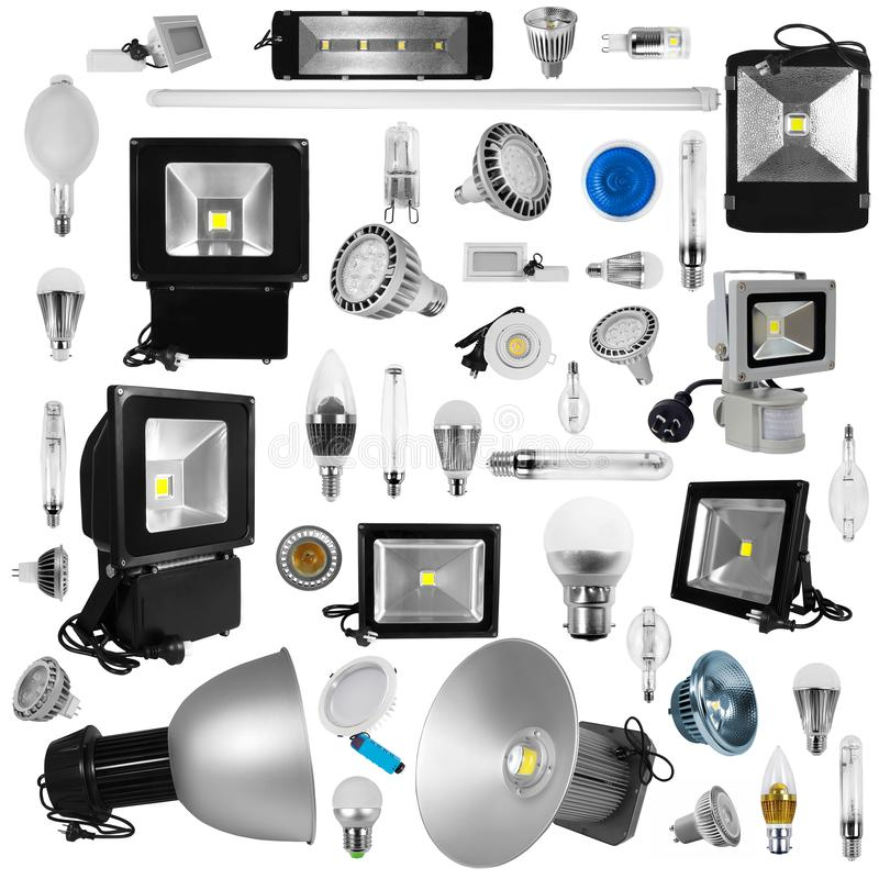 Economical light lamps isolated royalty free stock images