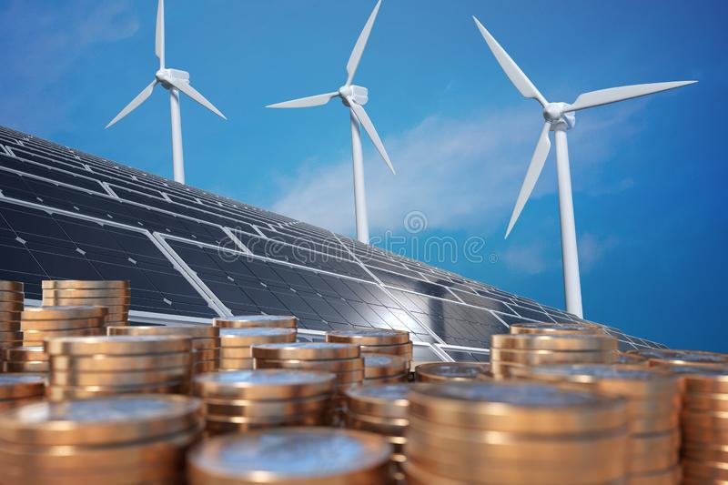 Economics of alternative energy. Money in front of solar panels and wind turbunes. 3D rendered illustration.  stock illustration