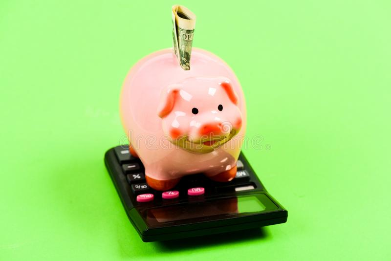 Economics and finance. Financial wellbeing. Savings account. Money savings. Savings deposit is convenient flexible way. Depositing savings. Piggy bank pink pig stock photography