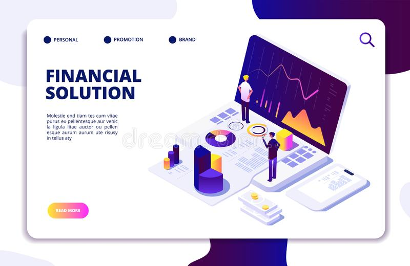 Economics finance manager isometric concept. Fund, budget tax management. People advisors check finance report. Vector. Landing page finance solution manager vector illustration