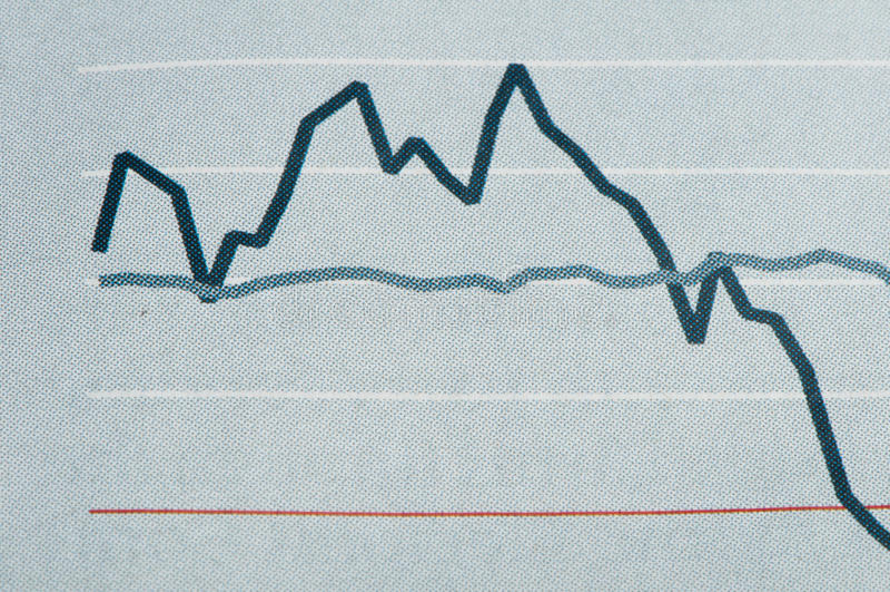 Economics graph. On newspaper studio shot stock photos