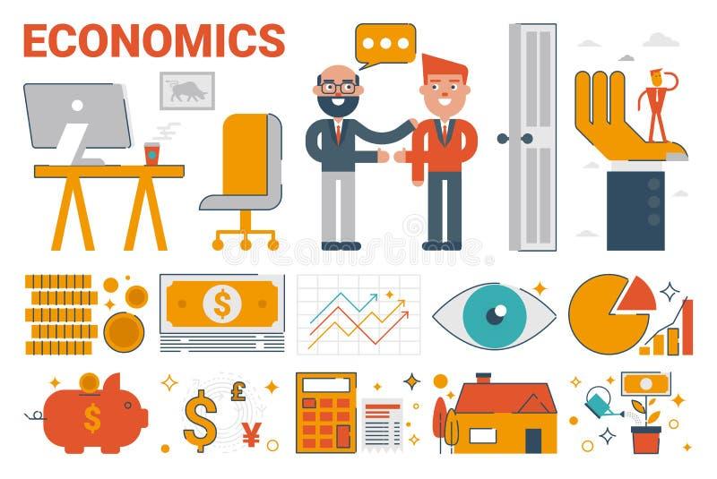 Economics infographic elements and icons stock illustration