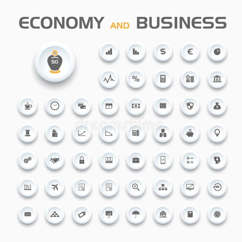 Economie en bedrijfspictogrammen stock illustratie