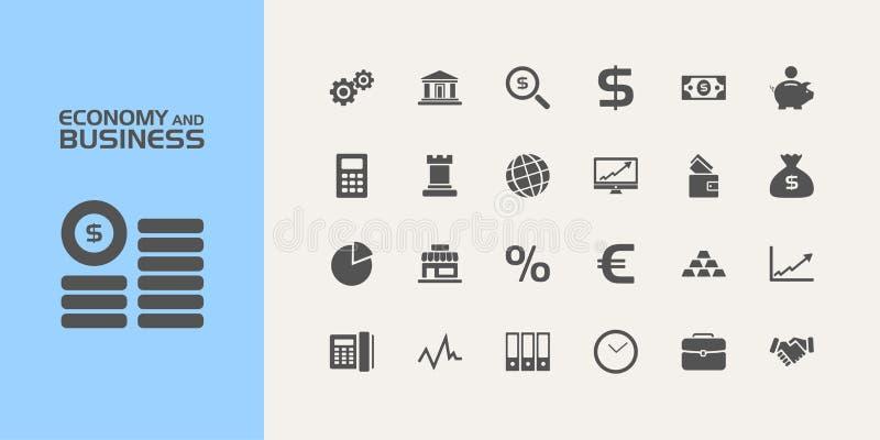 Economie en bedrijfspictogrammen royalty-vrije illustratie