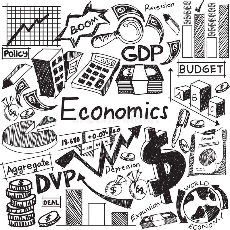 Economie en financieel de krabbelpictogram van het onderwijshandschrift van verbod stock illustratie