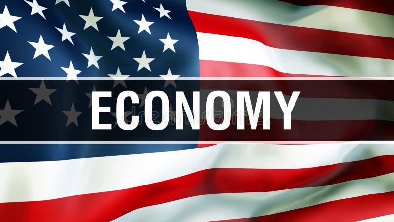 Economie op een de vlagachtergrond van de V.S., het 3D teruggeven De vlag die van de Verenigde Staten van Amerika in de wind golv vector illustratie