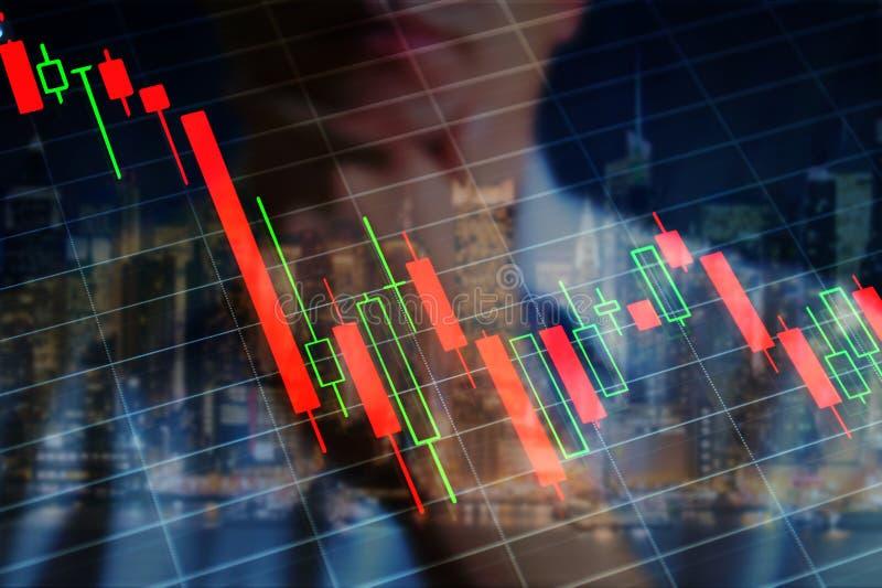 Economiecrisis, grafiek stock foto's