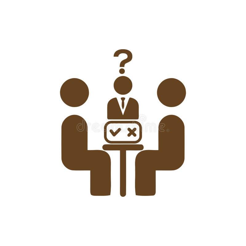 Economisch besluit, businessplan, besluit - het maken, beheer, teambesluit, plan, planning, pictogram van de strategie het bruine vector illustratie