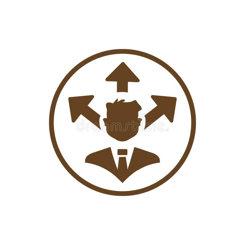 Economisch besluit, businessplan, besluit - het maken, beheer, teambesluit, plan, planning, pictogram van de strategie het bruine royalty-vrije illustratie