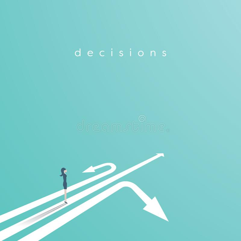 Economisch besluit vectorconcept met onderneemster die zich boven drie pijlen bevinden Bedrijfssymbool van besluit stock illustratie