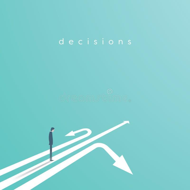 Economisch besluit vectorconcept met zakenman status boven drie pijlen Bedrijfssymbool van besluit, kans vector illustratie