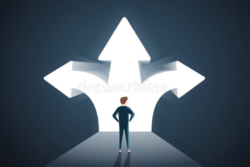 Economisch besluitenconcept Vector van een verwarde zakenman met vraagteken die zich voor pijlenkruispunten bevinden stock illustratie
