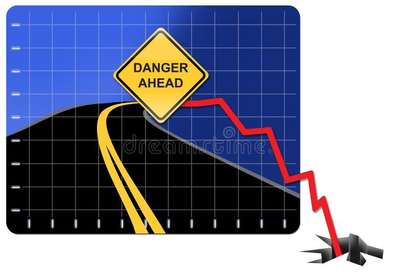 Economische Crisis, gevaar vooruit stock afbeeldingen