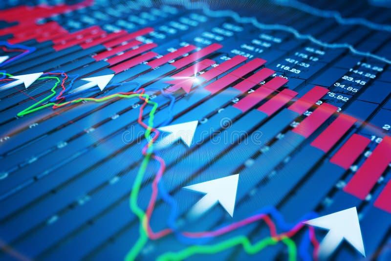 Economische indicatoren en beweging vooruit met de pijl stock illustratie